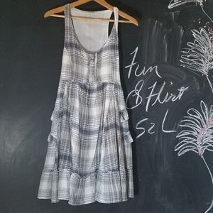Fun & Flirt Plaid Jumper Dress Sz S  Navy White